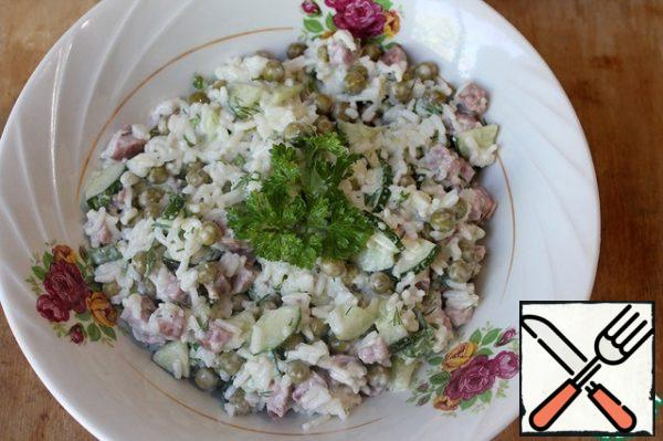 To taste, add mayonnaise, mix. Garnish with parsley. You can serve it on a shared plate.
