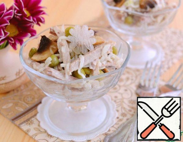 Meat Salad with Daikon and Mushrooms Recipe