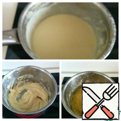 Melt the butter in a small saucepan over medium heat. Add flour, mustard and mix well until smooth. Gradually pour in small portions of milk, stirring constantly.