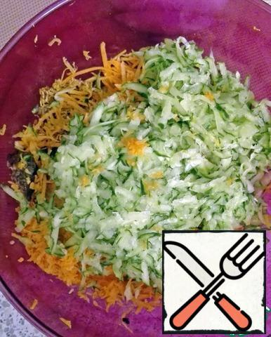 Grate cucumbers and carrots. Add them and the already cooked veal with beets to the salad bowl.Apple-apricot puree is used as a dressing! I add baby food, but you can make this sauce yourself!
