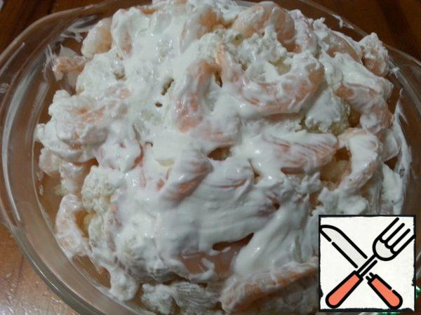 Cover the whole cabbage with sour cream. I did it with a silicone brush.