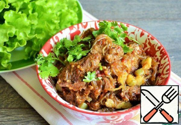 Spicy Beef with Eggplant and Funchosa Recipe