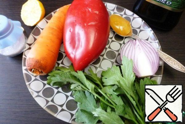 While the meat is cooking, prepare the vegetables and ingredients for the salad dressing.