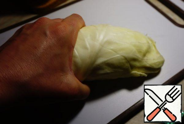 Cabbage leaves are rolled into a tube.
