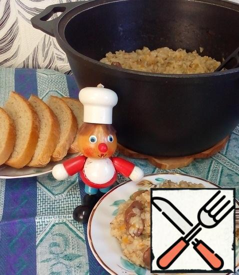 """Pilaf turns out flavorful and satisfying. The mushroom aroma is pronounced, and brown rice gives the pilaf its """"zest"""", becoming soft and absorbing the aroma of mushrooms and spices. Enjoy your meal!"""