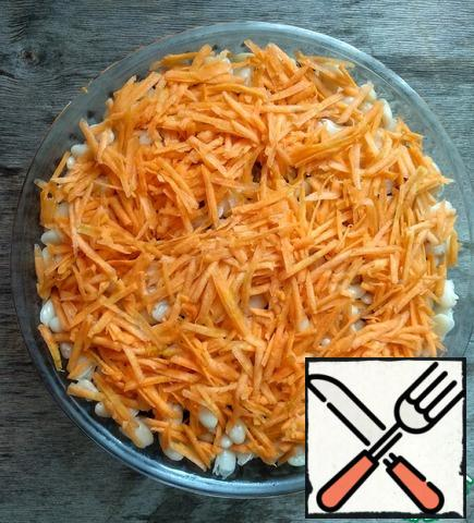 Then carrots, grated on a coarse grater.