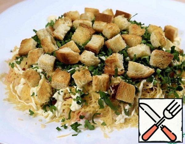 Salad with Crackers and Crab Sticks Recipe