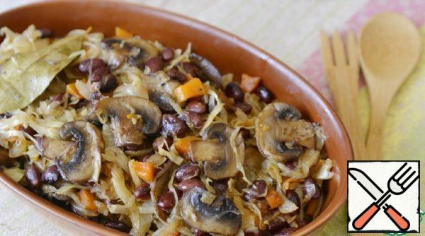 Stewed Cabbage with Beans and Mushrooms Recipe
