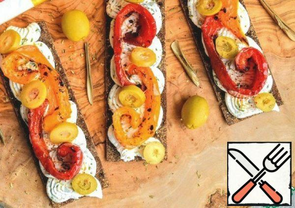 Baked Pepper with Cheese on Bread Rolls Recipe