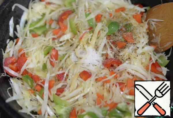 Add salt, sugar, and a mixture of peppers.
