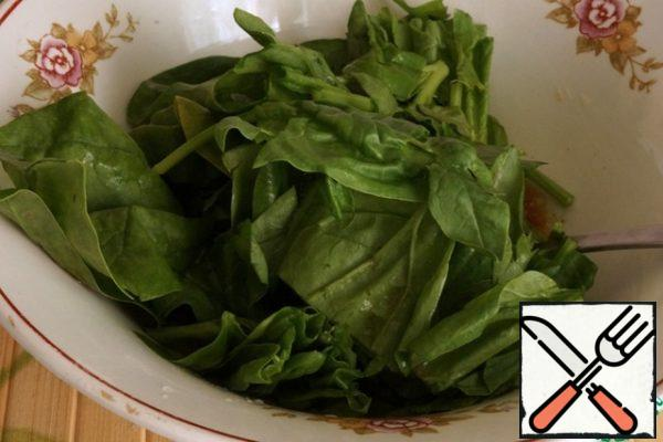 Add the spinach, coarsely chopped, and mix.