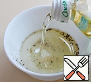 Mix salt, pepper and oil.