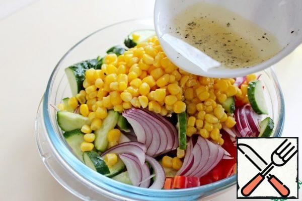 Add the salad dressing and mix. Serve the salad immediately. Bon Appetit!!