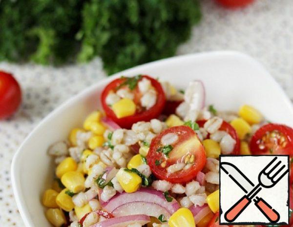 Salad with pearl Barley, Corn and Tomatoes Recipe