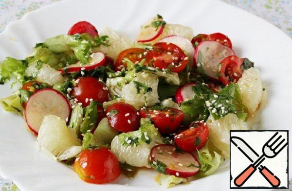 Salad with Radish, Pomelo and Cherry Recipe