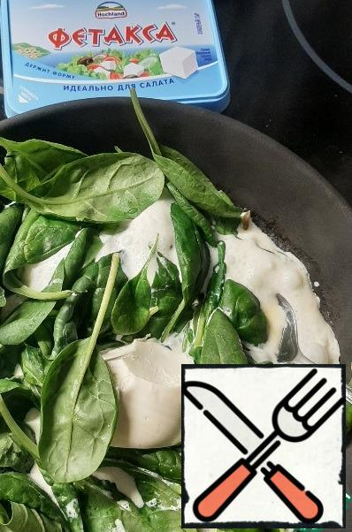 Immediately add the Feta cheese. It melts well and the sauce becomes thicker and richer in taste. Mix w