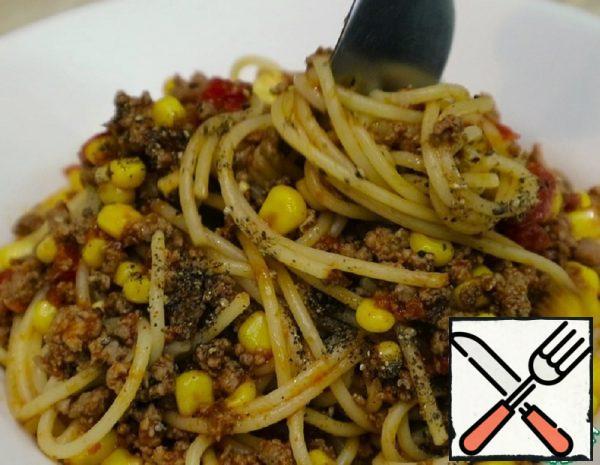 Spaghetti with Ground Beef and Corn Recipe