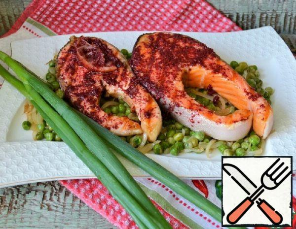 Grilled Salmon with Creamy Green Peas Recipe