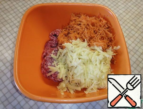 Grate the potatoes on a coarse grater. Add the minced meat and carrots to the bowl.