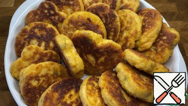 Fry as usual pancakes in vegetable oil.