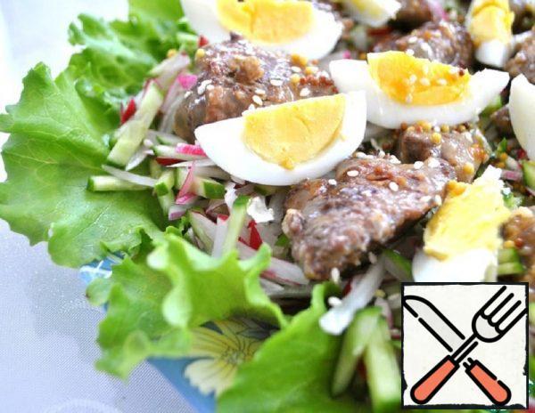 Radish and Cucumber Salad with Chicken Liver Recipe
