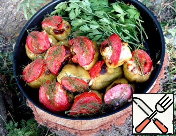 Pepper baked with Meat and Vegetables Recipe