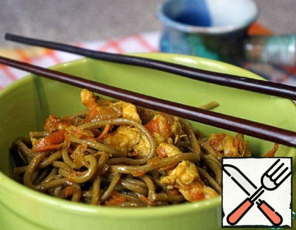 Chicken with Buckwheat Noodles in Teriyaki Recipe