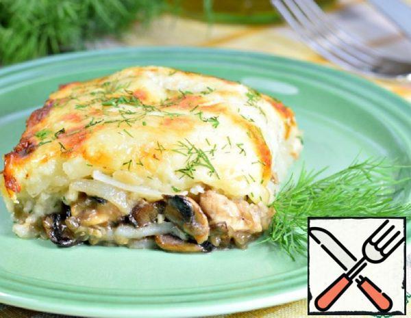 Potato Casserole with Chicken and Mushrooms Recipe