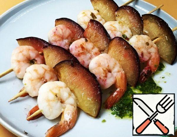 Shrimps and Plums Skewers Recipe