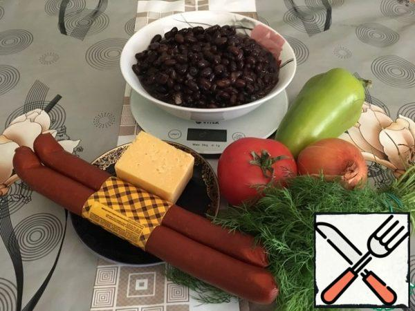 This is an approximate set of products. Everyone can already adjust everything to their liking. Pre-boil the beans until tender.