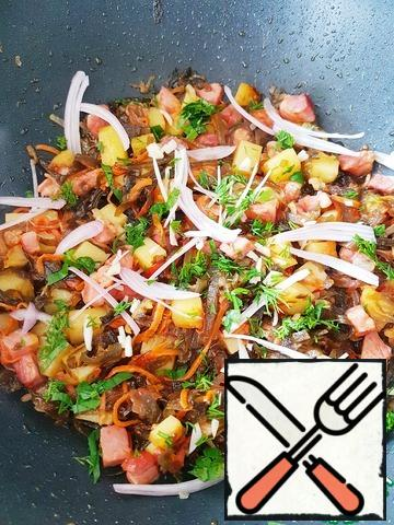 Add shallots, chopped feathers or green onions, plus herbs. Add salt and pepper to taste.