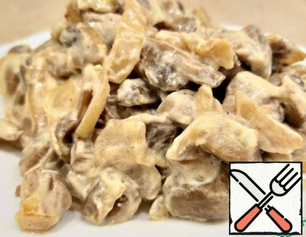 Fried Mushrooms with Sour Cream Recipe