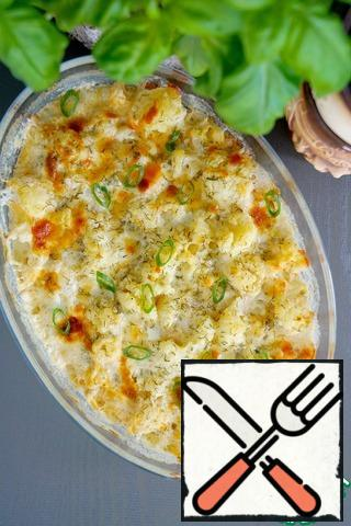 When serving, sprinkle with green onions and, if desired, sprinkle with lemon juice.