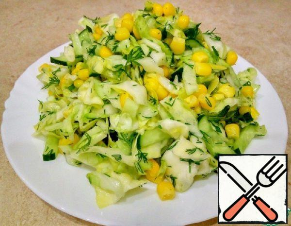 Salad with Corn, Cucumbers and Cabbage Recipe