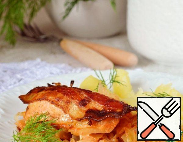 Chicken Breasts baked on Young Cabbage Recipe