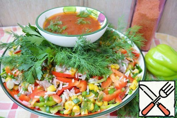 We pour our salad with ready-made sauce and serve it to the table with a lot of fresh herbs!