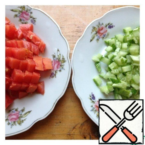 Cut the cucumber and tomato into a small cube.
