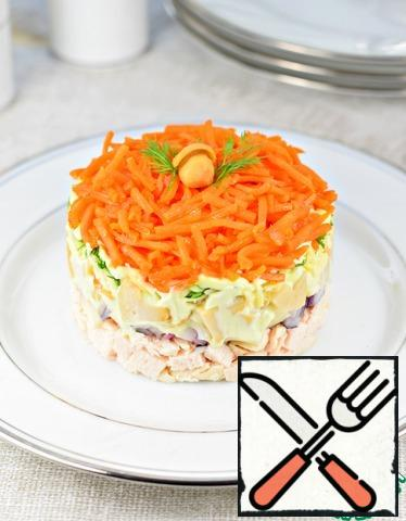 Assemble the salad using the serving ring as follows: - turkey; - onion, mayonnaise (or sour cream); - mushrooms, mayonnaise; - cheese; - greens, mayonnaise; - carrots in Korean. Or put the salad in layers in a large salad bowl. Everything is ready!