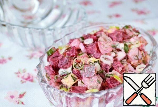 Salad with Herring and Green Onions Recipe