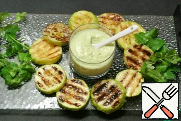 Grilled Zucchini with Cottage Cheese Sauce-Dip Recipe