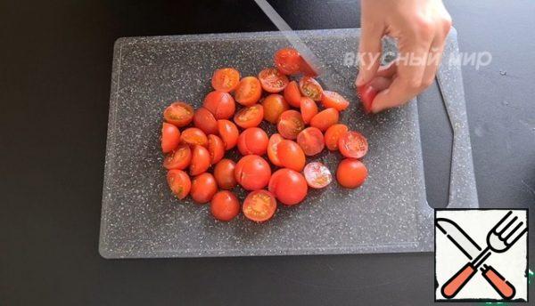 Cherry tomatoes cut in half