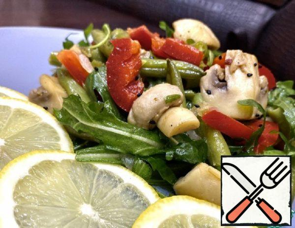 Warm Salad with Mushrooms and Asparagus Beans Recipe