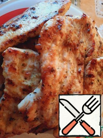 Fry the turkey chops on the grill (or grill pan) for 4 minutes on each side.