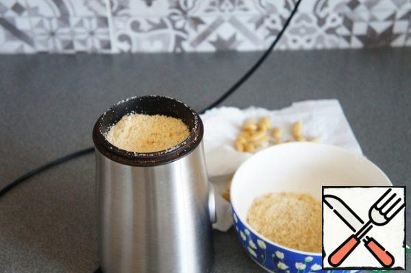 Grind in small portions in a coffee grinder.