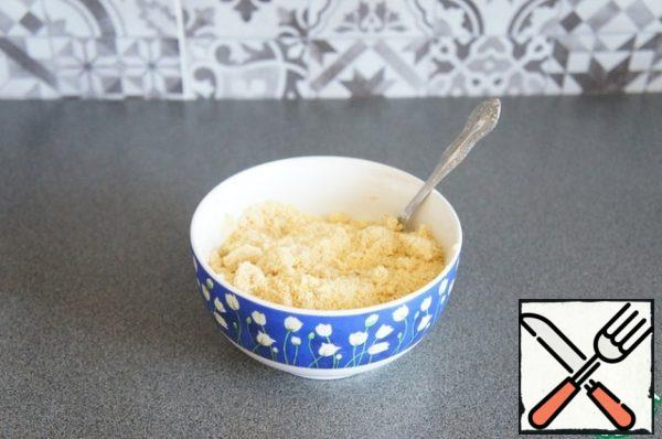 Mix the ground almonds, corn flour.