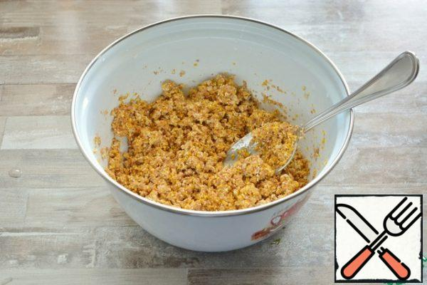 The water should literally moisten the cereals a little. Cover with a film or lid and leave in the room for 12 hours