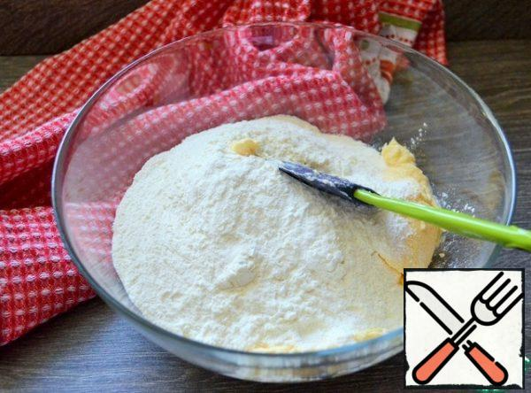 Sift the flour, add salt and baking powder, mix gently until smooth.