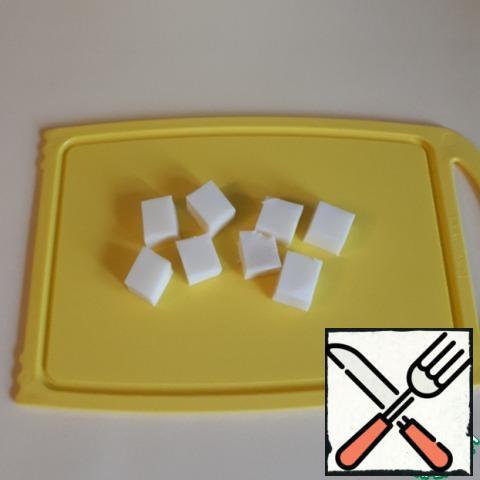 Cut the mozzarella into pieces