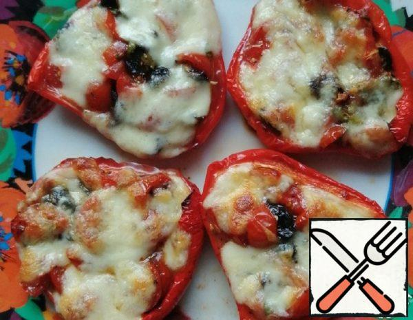 Baked Pepper with Tomatoes and Mozzarella Recipe