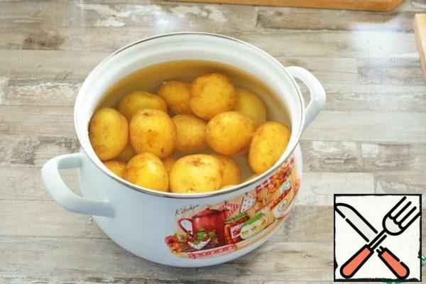 As soon as the saline solution boils, lower the potatoes into it, wait for it to boil. Potatoes should be cooked at a fairly strong boil without a lid for 15-20 minutes (small potatoes) or 30-40 minutes (larger potatoes).Check for readiness is classic: pierce with a knife, the potatoes should become soft.